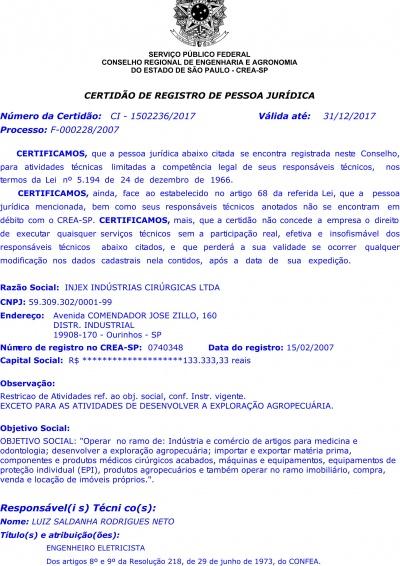 Certidão de Registro de Pessoa Jurídica - CREA 2017