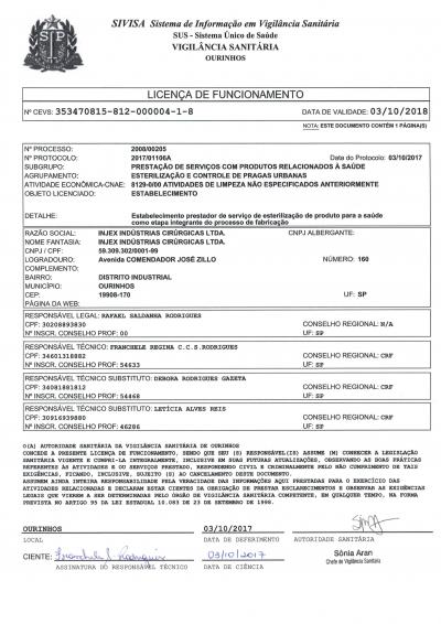 Licença de Funcionamento (Esterilização)
