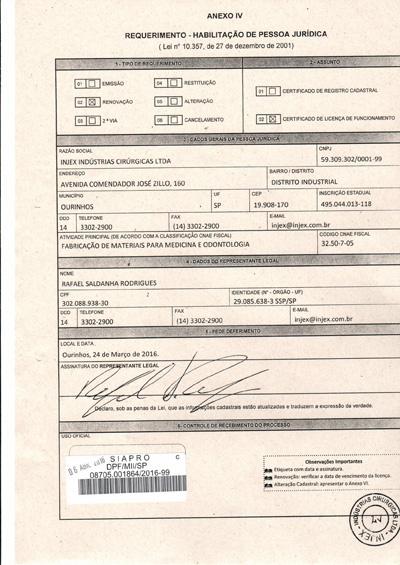 Licença Policia Federal (Protocolo de Renovação)