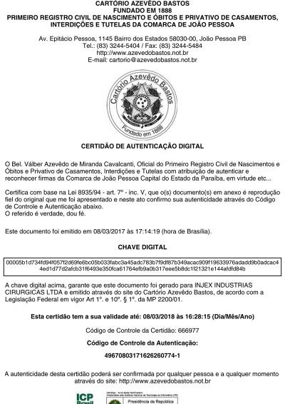Certidão Estadual - Validade 03/09/2017 - CHAVE