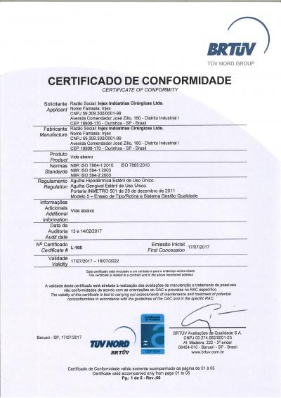 Certificado Agulhas Hipodérmicas e Gengivais