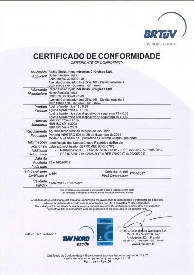 Certificado Agulha Hipodermica (13x0,38 / 40x1,6) com e sem Dispositivo