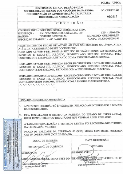 Certidão Estadual - Validade 03/09/2017