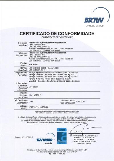 Certificado Seringas Hipodérmicas