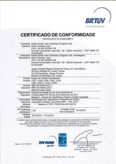Certificado de conformidade Equipo Jiangxi