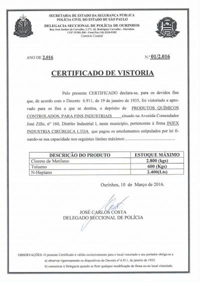 Polícia Civil - Certificado de Vistoria