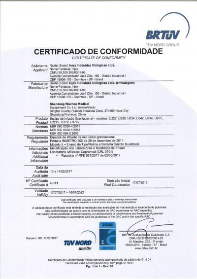 Certificado de conformidade Equipo Shandong